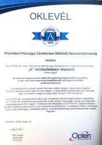 Opten tanusítvány a Provident A minősítéséről