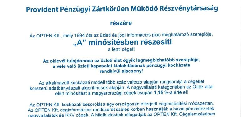 'A' SZINTŰ TANÚSÍTVÁNY A PROVIDENTNEK
